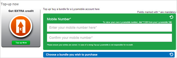 ricaricare lycamobile